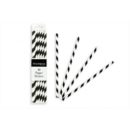 Modena Pack Of 30 Black & White Retro Stripe Paper Drinking Cocktail Straws