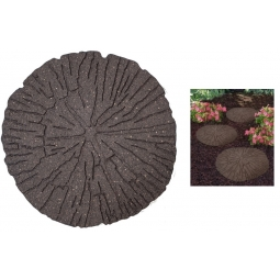Brown Cracked Log Effect Recycled Rubber Decorative Garden Stepping Stone 45cm