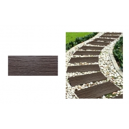 Brown Railroad Effect Recycled Rubber Decorative Garden Tile Stepping Stone 61cm