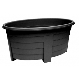 Black Grosvenor Oval Planter Trough Patio Plant Pot Large 55cm Indoor Outdoor