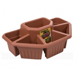 Terracotta Colour Terrace Planter 6 Section Garden Herb Flower Patio Plant Pot