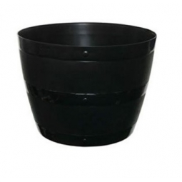 34cm Small Black Barrel Planter Plant Pot Plastic Indoor Outdoor Barrel Planter