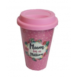 Mum In A Million Mothers Day Pink Floral Porcelain Thermal Travel Mug 330ml