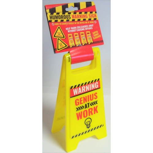 Adult Humor Slogan 10'' x 5'' Plastic Funny Warning Stop Sign - Genius At Work