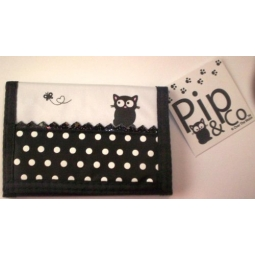 Pip The Cat Children's Wallet Purse Black & White Polka Dot Design