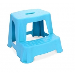 Blue Children 2 Tier Step Plastic Stool Bathroom Reaching Stool Home Ktichen