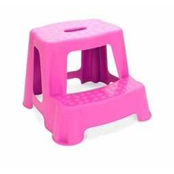 Pink Children 2 Tier Step Plastic Stool Bathroom Reaching Stool Home Ktichen