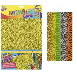 15 Sheets Of Assorted Animal Print Craft Card & 5 Animal Shape Stensils Kids Fun
