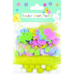 Easter Bonnet Craft Pack Foam Easter Chick Stickers Feathers PomPom Egg Confetti