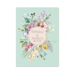 Teal Floral A5 Silky Cover A-Z Birthday Address Book Contact Organiser Note Page