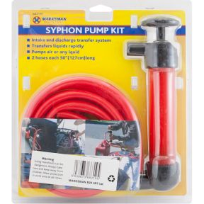 Marksman Portable Hand Syphon Pump Kit Fuel Oil Extractor Liquid Transfer Pipe