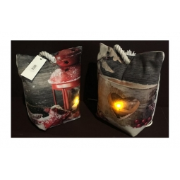 Heart Design Light Up LED Heavy Weight Fabric Door Stop Hear Log Candle