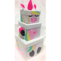 Set of 3 Small Unicorn Plush Nested Boxes with Lids Christmas Eve Gift Box