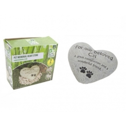 Heart Shaped Heavy Garden Pet Memorial Remembrance Stone 15cm - Beloved Cat