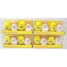4 Packs Of 4 Chenille Easter Chicks Bunnies 2 Chicks 2 Bunnies Easter Decoration