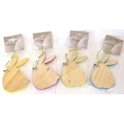 St Of 4 Easter Bunny Decoration Hanging Wooden Easter Bunny Plaque Assorted