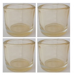 Set of 4 Decorative Tea Light Candle Holder 6.5 x 5.7cm Transparent Orange