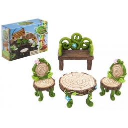The Fairies Enchanted Garden 4 Piece Fairy Woodland Furniture Set Table Chairs