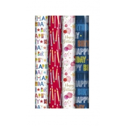 4 x Rolls Of Gift Wrap Wrapping Paper 3M x 70cm Happy Birthday Script Unisex