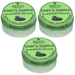 3 x Prices Neutralising Scented Chefs Candle In Tin Basil Patchouli Geranium 30H