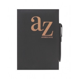 A5 Black Padded Bronze A-Z Address Book With Pen Contact Organiser Notes Pages