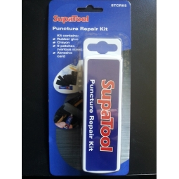SupaTool - Puncture Repair Kit 9 Patches Rubber Glue Crayon Abrasive Card