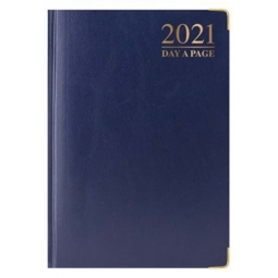 Blue A5 2021 Day A Page Padded Cover Diary With Metal Corners Personal Planner