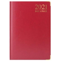Red A5 2021 Day A Page Padded Cover Diary With Metal Corners Personal Planner