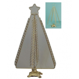 Premier Tree Shaped Metal Christmas Card Holder Holds Up To 80 Cards - GOLD STAR