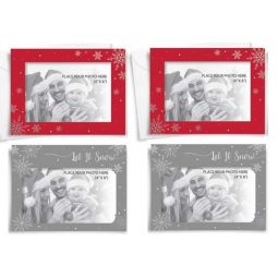 24 x Make Your Own Photo Christmas Cards Landscape Red & Silver With Envelopes