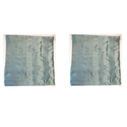 Set Of 2 Square Cushion Covers Silk Effect Pleated Zip Cover Teal Heather Green