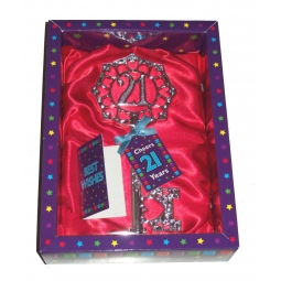 Best Wishes Keepsake Happy Birthday Good Luck 21st Key Charm - Boy