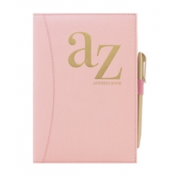 A5 Blush Pink Padded A-Z Address Book With Pen Contact Organiser Notes Pages