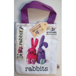 Fab Animals Rabbits Book Bag With Detachable Bookmark