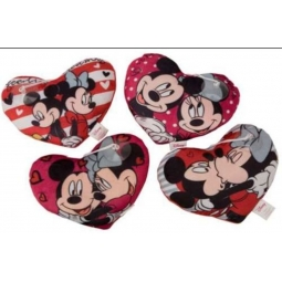 Small Micky Mouse Or Minnie Mouse Heart Shaped Cushion 20cm Approx