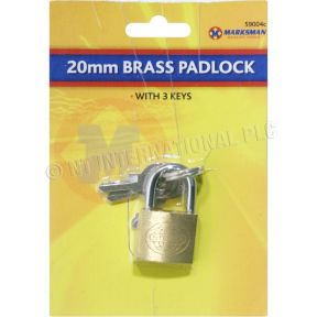 Marksmann 20mm Mini Brass Padlock With 3 Keys Suitcase Travel Hand Luggage Lock