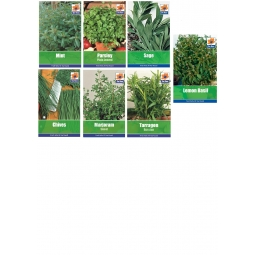 7 Packs Garden Herb Collection Seeds Sage Basil Chive Parsley Mint Tarragon