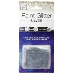 Silver Paint Glitter Adds Sparkle To Wall Emulsion Varnish Pour Mix Decorate 28g