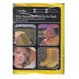 Yellow Kids Reusable Waterproof Emergency Raincoat Travel Poncho One Size Hiking