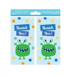 Pack Of 16 Kids Thank You Birthday Party Cards With Envelopes - Monster Design