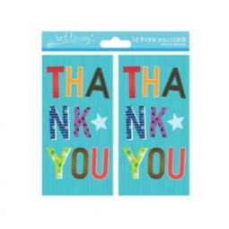 Pack Of 16 Kids Thank You Birthday Party Cards With Envelopes - Party Design