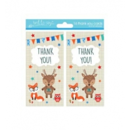 Pack Of 16 Kids Thank You Birthday Party Cards With Envelopes Woodland Animals