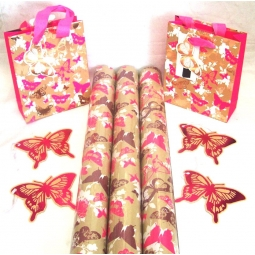 9pcs Pink & Brown Butterfly Wrapping set Gift Wrap, Gift Bags & Gift Tags