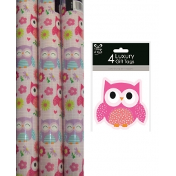 3 x 2.5M Rolls Owl Design Gift Wrapping Birthday Paper 4 Holographic Gift Tags