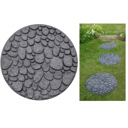 Grey River Rock Pebble Recycled Rubber Decorative Garden Stepping Stone 46cm